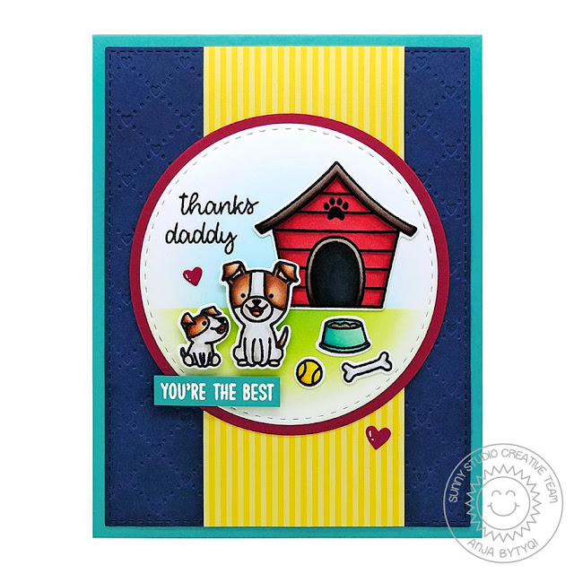 Sunny Studio Stamps: Puppy Parents Build A Tag Quilted Hearts Embossing Thank You Parent Card by Anja Bytyqi