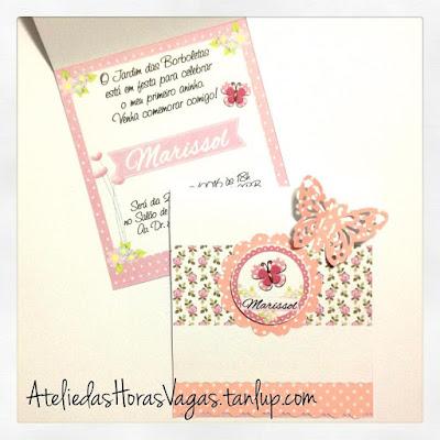 convite artesanal infantil aniversário personalizado jardim das borboletas floral rosa 1 aninho menina