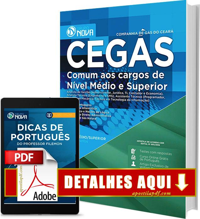 Apostila CEGÁS 2016 PDF Impressa Nível Médio e Superior