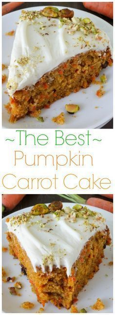 My favorite carrot cake - made with pumpkin! After one bite you'll want to add pumpkin to your carrot cake recipe every time. Silky cream cheese frosting and chopped pistachios finish off this delicious cake! #cakes