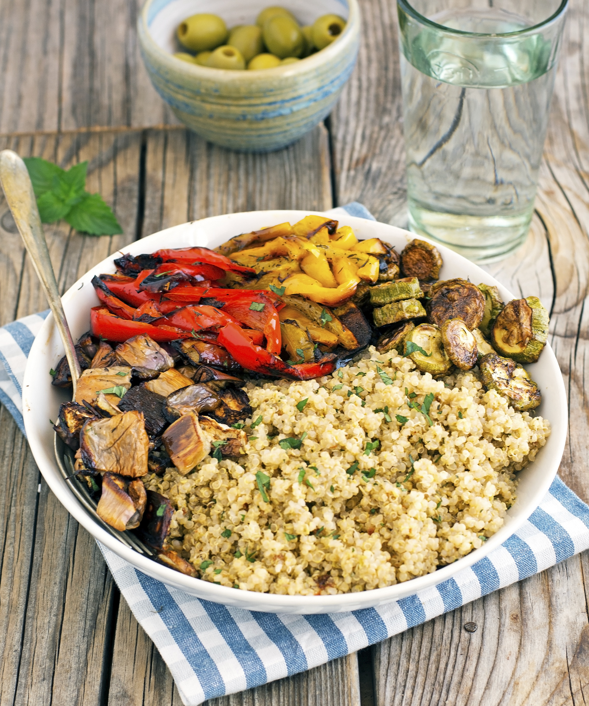 Quinoa with Roasted Vegetables and Olive-Mint Pesto