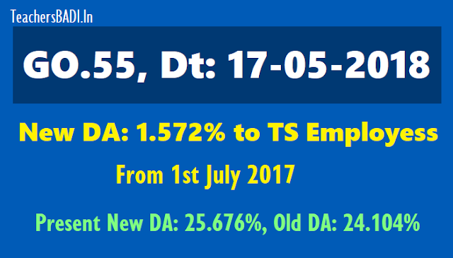 Ts go.55 new da 1.572% to ts employees from 1st july 2017,present new da 25.676%,old da 24.104,da difference,da enhanced,da arrears in gpf cps account
