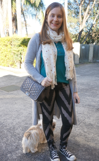 teal henley printed Sass & Bide skinny jeans converse wool maxi cardigan | AwayFromBlue