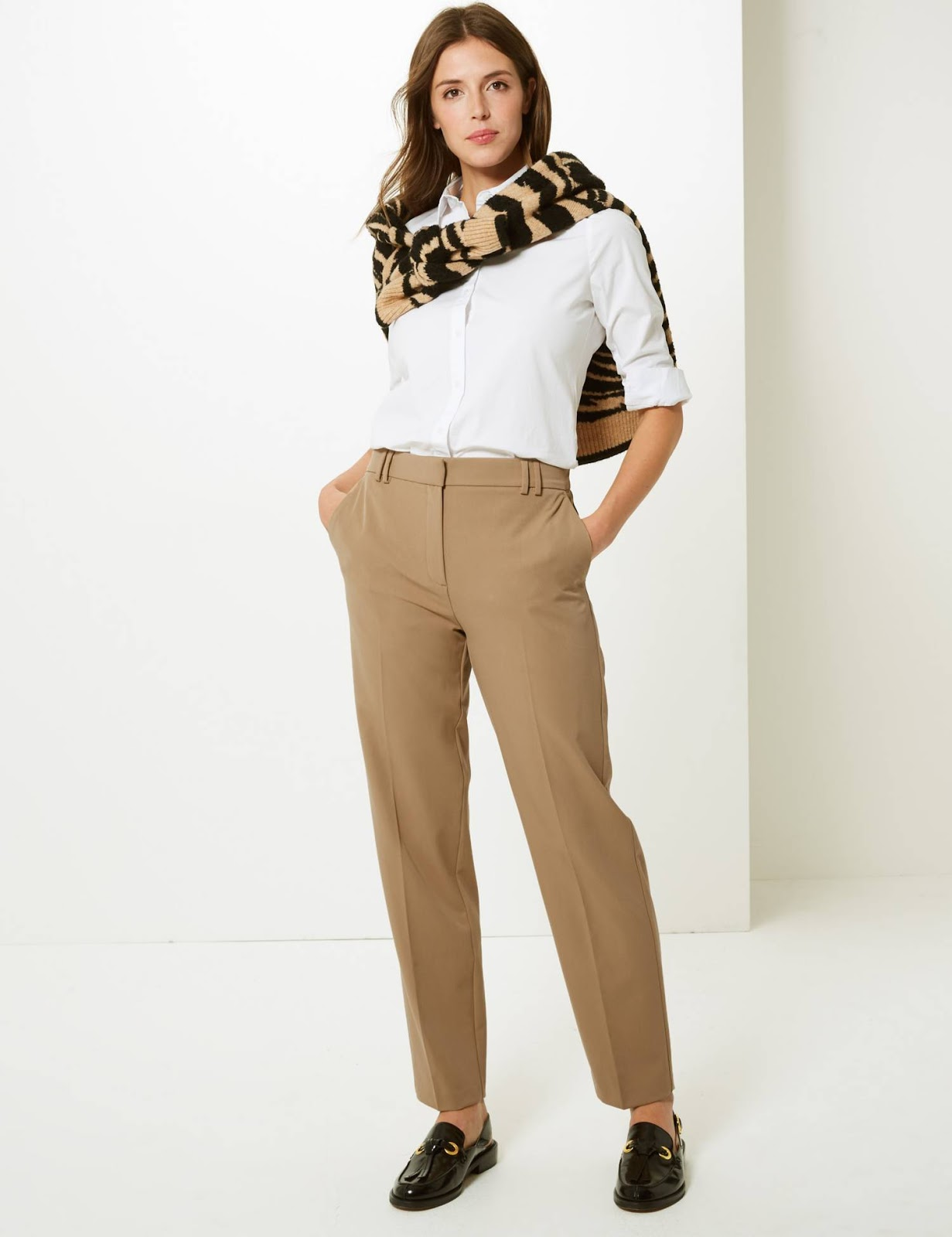marks and spencer relaxed straight leg trousers