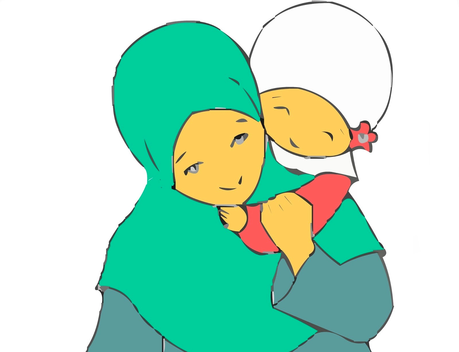 Gambar Kartun Muslimah Ibu Dan Anak  Kantor Meme