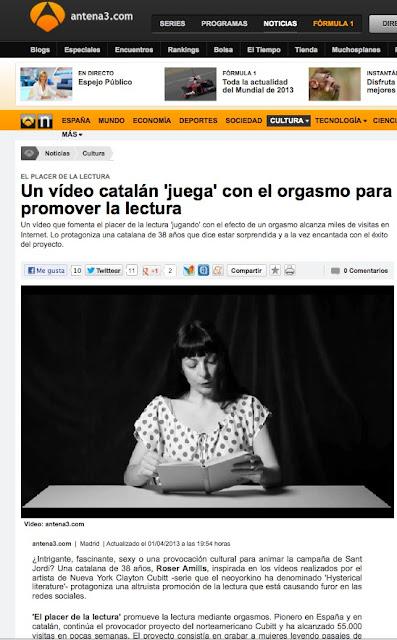 Antena 3 | Un vídeo catalán 'juega' con el orgasmo para promover la lectura