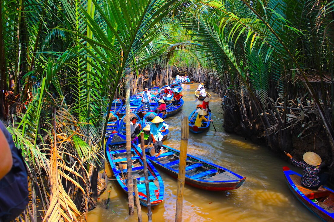 boats on the mekong delta river