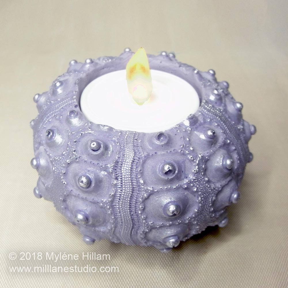 Use quick curing FastCast urethane resin to create a sea urchin votive holder.