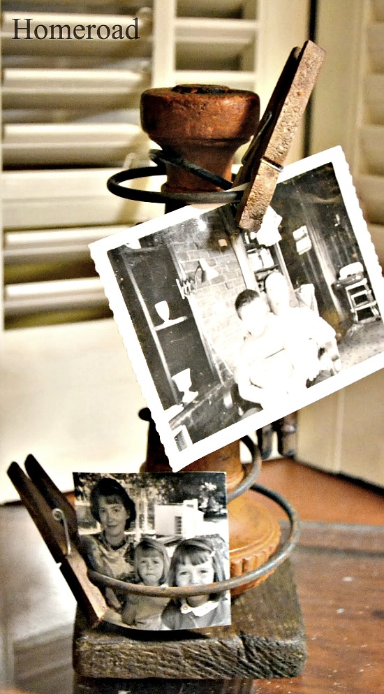 Repurposed Rustic DIY Rusty Spring Photo Display. Homeroad.net