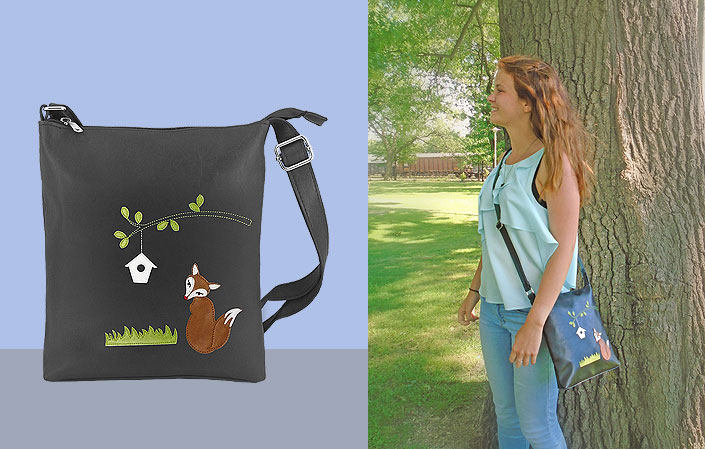 LAVISHY vegan leather small messenger bag with fox applique