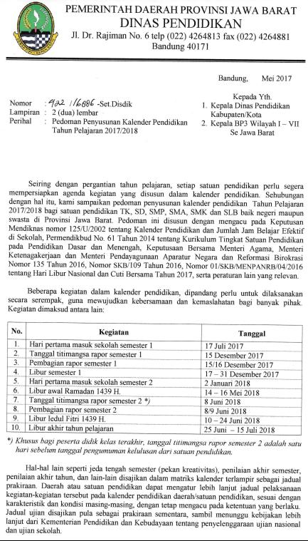 Kalender Pendidikan Provinsi Jawa Barat 2018 2019 Dan 2017