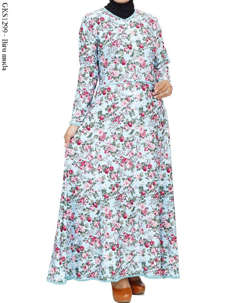 Gks1299 Gamis Spandex Motif Bunga Busana Muslim Murah