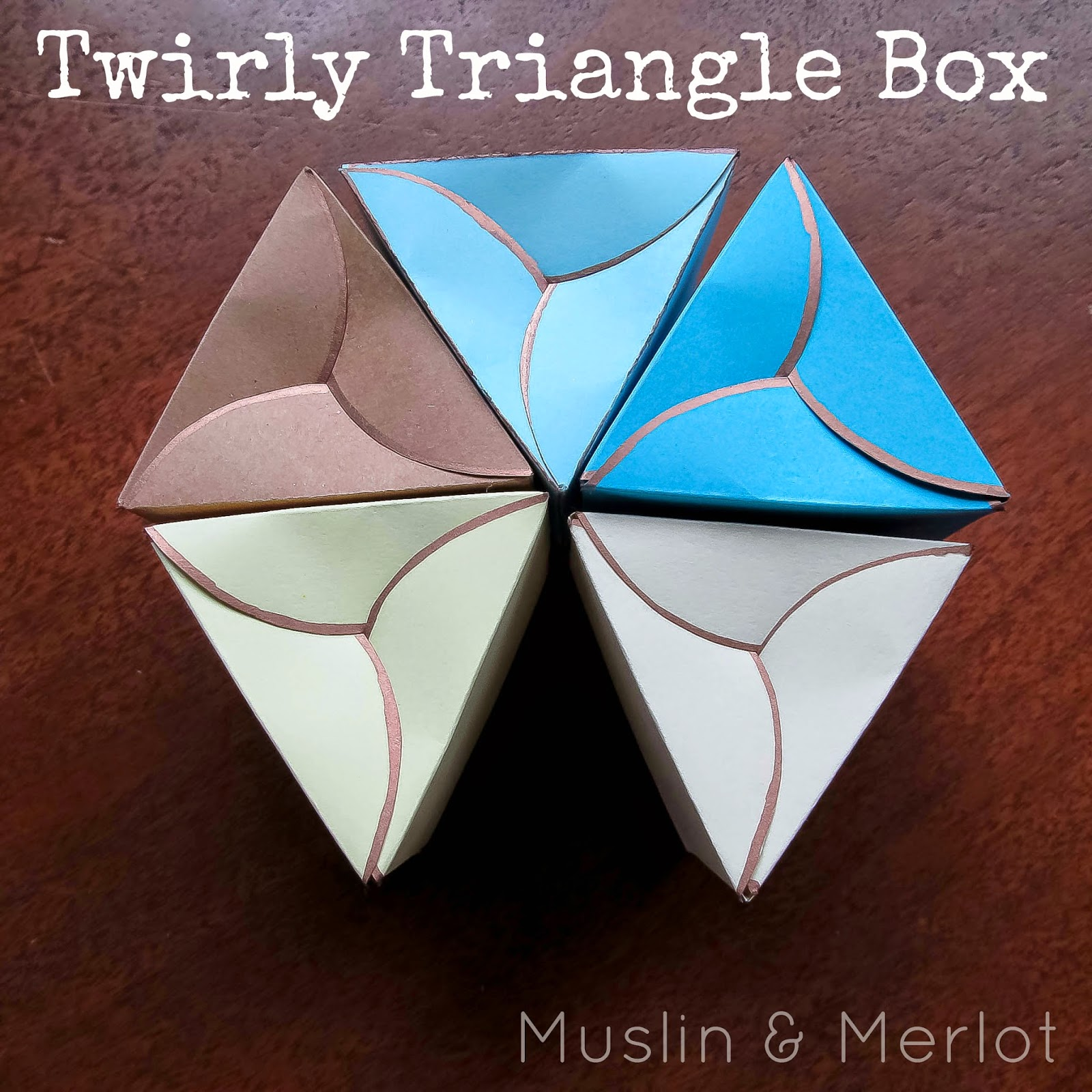 Twirly triangle box muslin and merlot for Triangle packaging template