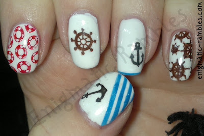 barry-m-matt-white-nautical-themed-nails-sailor-cheeky-stamping-plates-Fake-tattoo-anchor-enigmatic-rambles