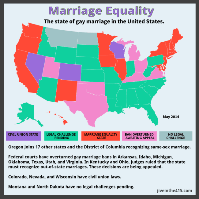 the state of gay marriage reflected in the map of the united states may 2014