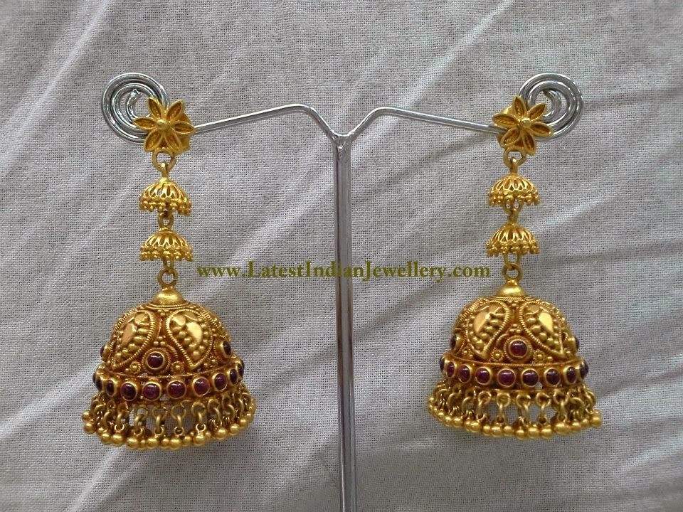 Gorgeous Long Gold Jhumka Earrings