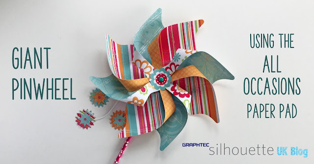 """Make Lori Whitlock's Giant 3D Pinwheels with 12"""" x 12"""" paper. Tutorial by Janet Packer https://craftingquine.blogspot.co.uk for SilhouetteUK Graphtec GB."""
