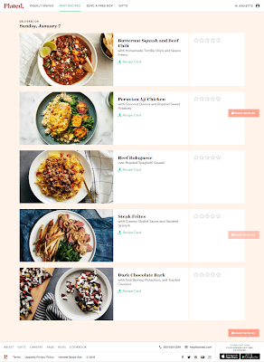 Screencap of my first week's menu from Plated