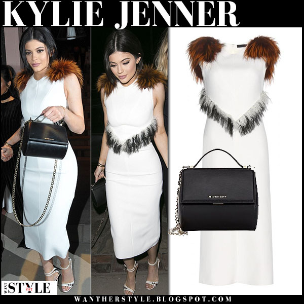 Kylie Jenner in white fur trimmed dress proenza schouler what she wore party outfit