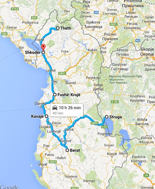 Albanië, route