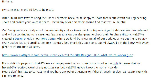 Craftsy support reply
