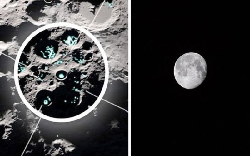 agua en movimiento en la superficie de la Luna