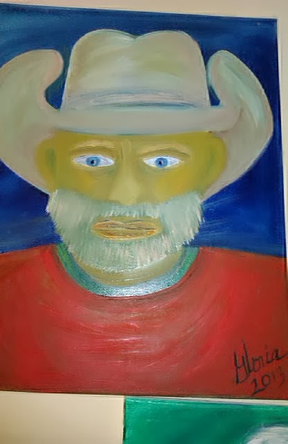 """American Rancher"" oil painting by Gloria Poole of Missouri; for ethnic series;  2013"