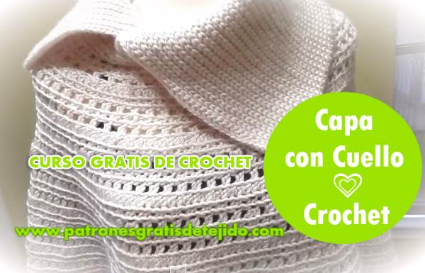 Como tejer una capa crochet cuello punto tunecino