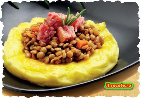 Cotechino e lenticchie nelle duchesse di patate