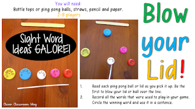 5 Sight Word Activities that are FUN: Blow your Lid