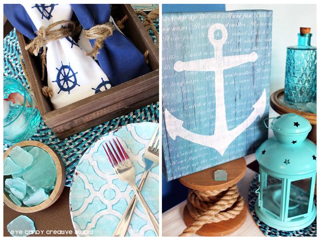 nautical theme, beach theme, anchor art, father's day dessert table