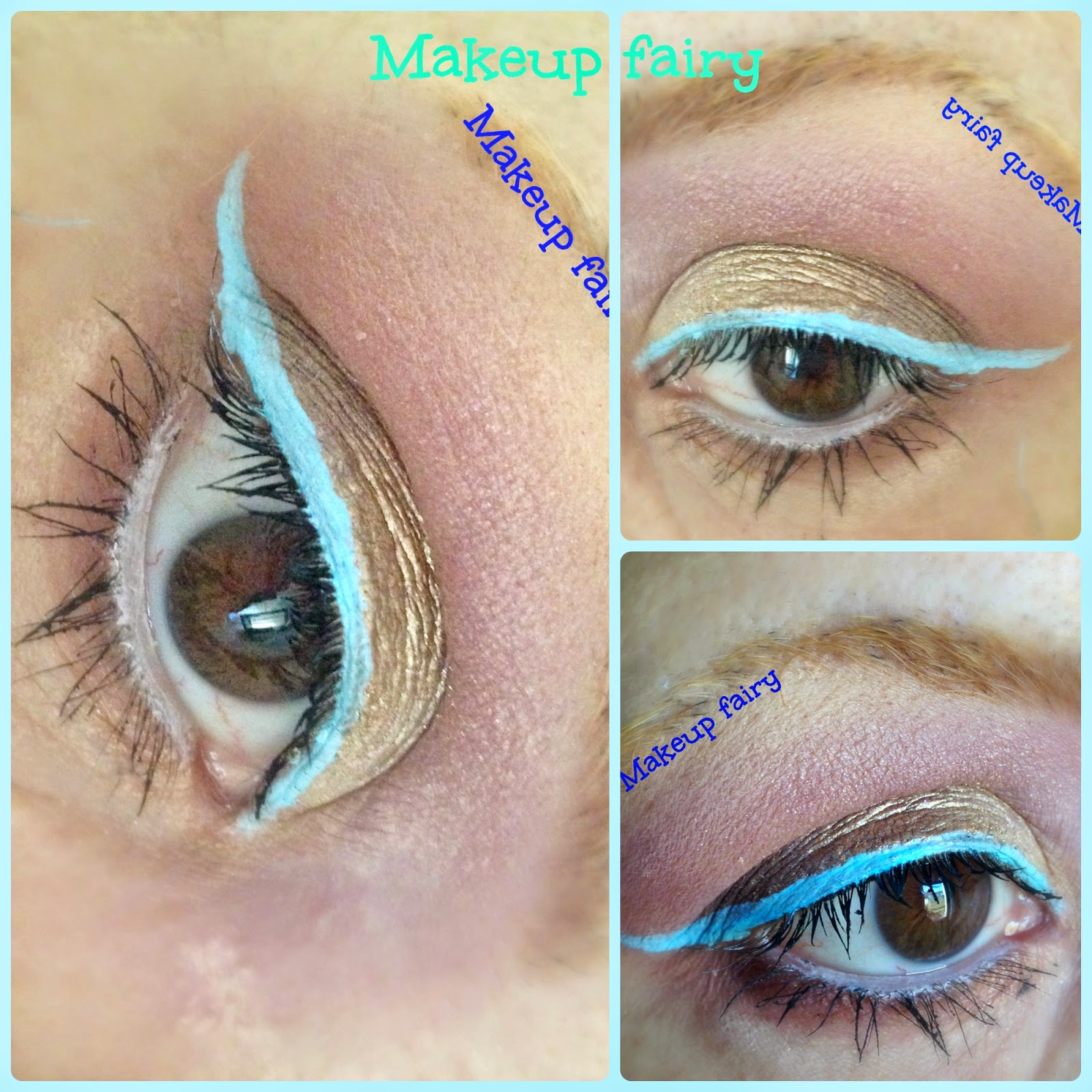 Colorati D Azzurro Chiaro eye makeup look rose gold with a pop of pastel blue