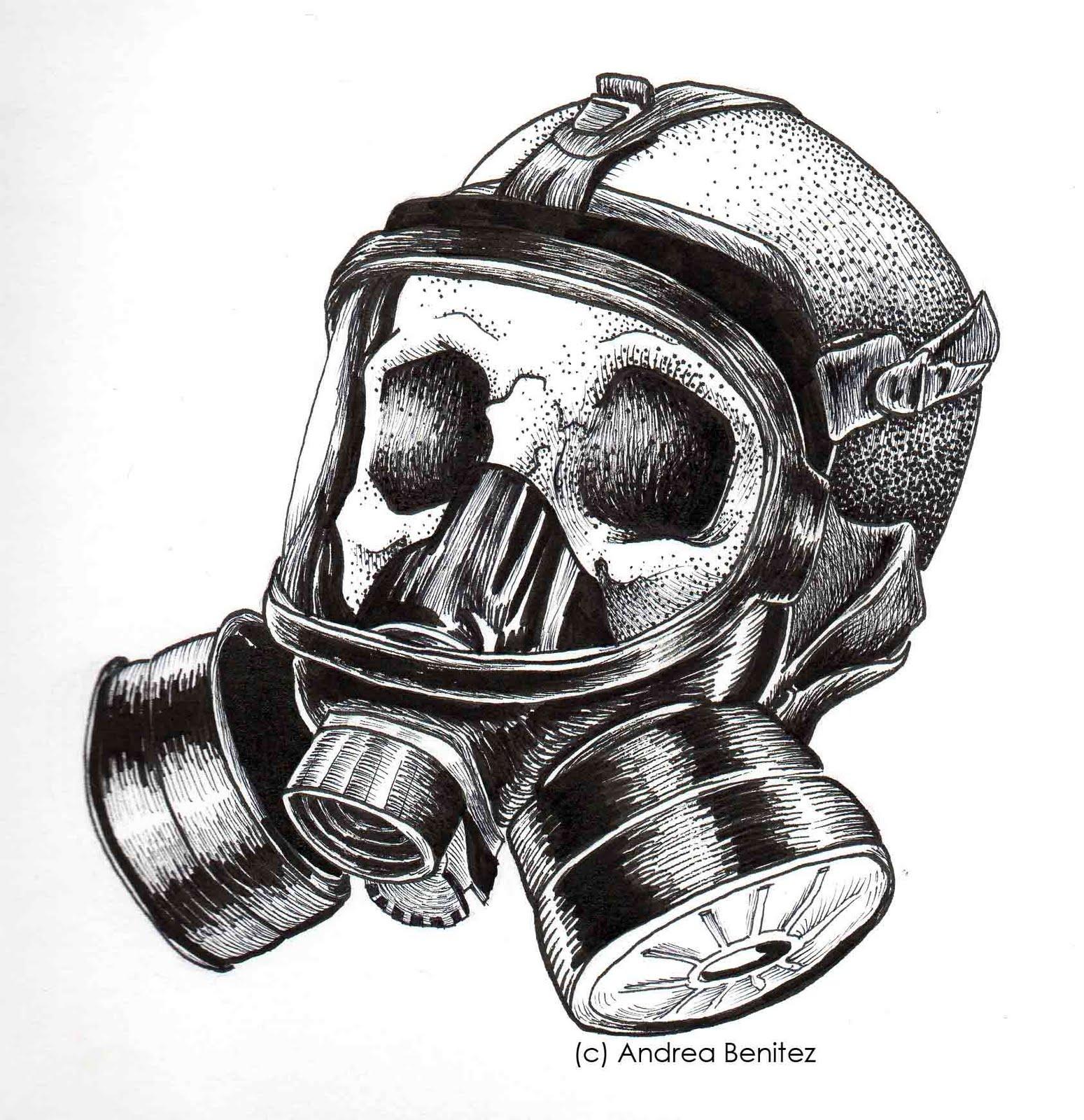 detailed line art gas mask