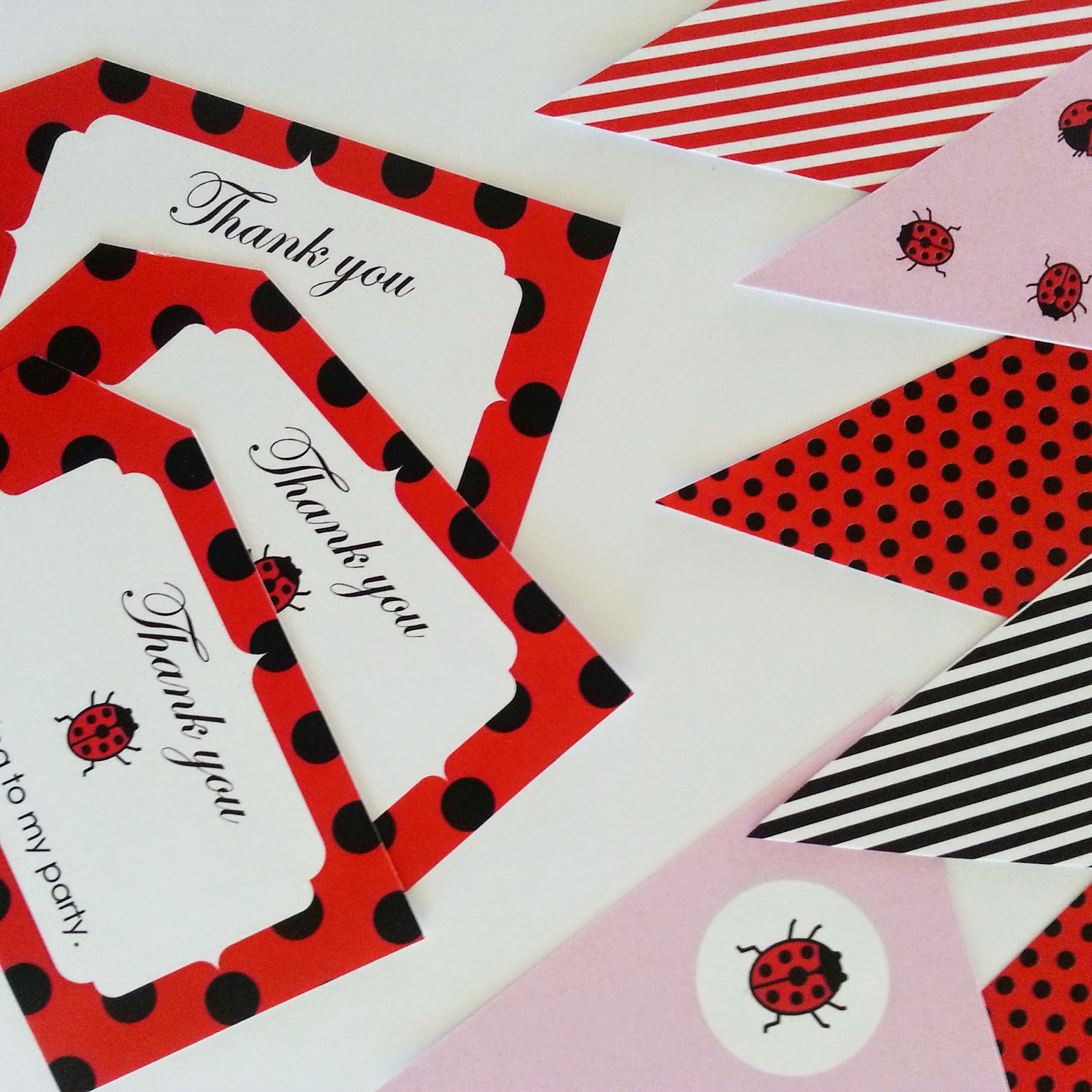 image of ladybug themed party decoration and supplies. Bunting flags and thank you tags.