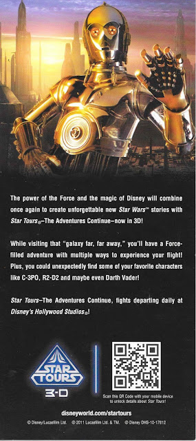 Star Tours 3D Flyer Disney's Hollywood Studios 2011 Back