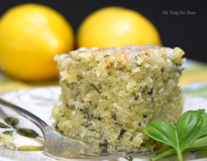 Lemon Basil Cake: Use a vanilla cake mix, and this cake comes together in 5 minutes!  | Ms. Toody Goo Shoes