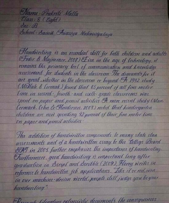 Prakriti Malla, Anak Dengan Tulisan Tangan Tercantik di Dunia