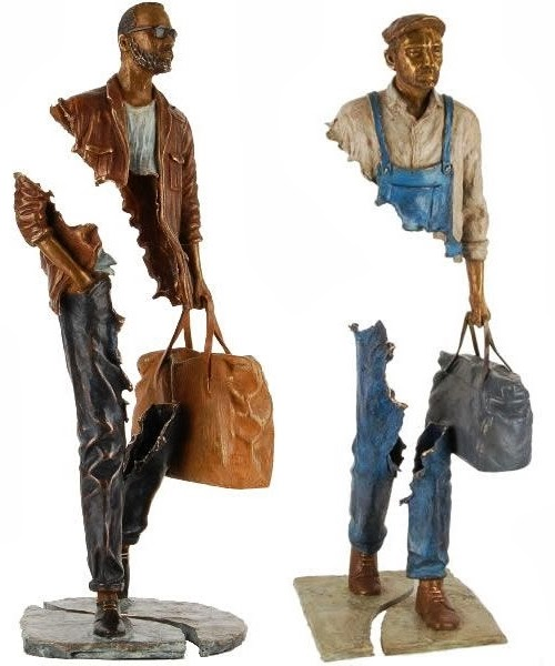 08-French-Artist-Bruno-Catalano-Bronze-Sculptures-Les Voyageurs-The-Travellers-www-designstack-co