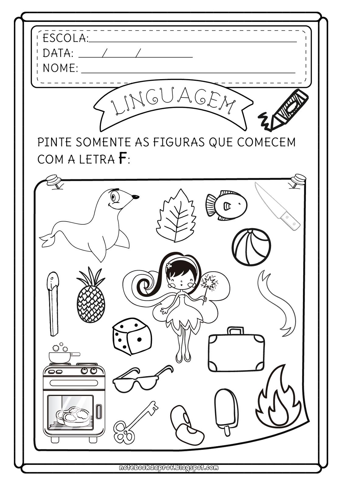 Notebook Da Profa Atividades Letra F