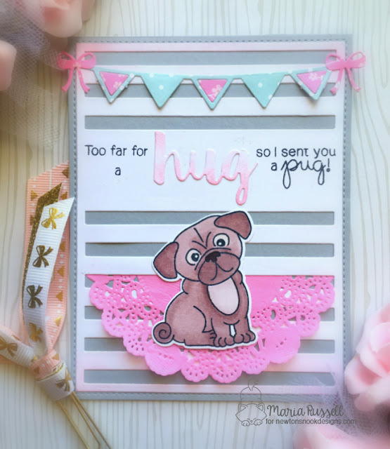 Pug Hugs Card by Maria features Pug Hugs by Newton's Nook Designs, #newtonsnook