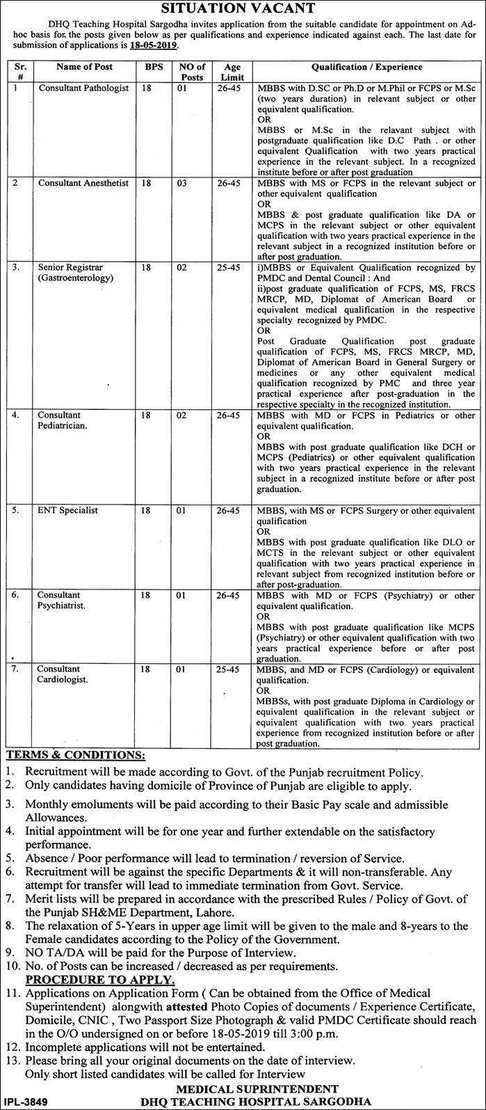 Latest Jobs in DHQ Teaching Hospital Sargodha April 2019