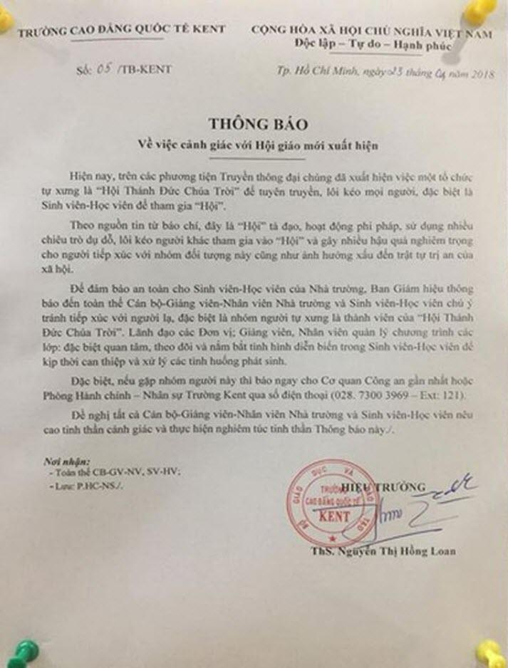Hàng loạt trường Đại học phát cảnh báo khẩn trước sự hoành hành của 'Hội Thánh Đức Chúa Trời' - Ảnh 2