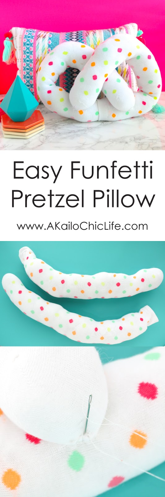 Funfetti Pretzel Pillow Tutorial - Learn how to make a confetti pretzel pillow from a pair of knee socks using only a few simple hand stitches - no sewing machine required!