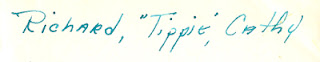 "Reverse of photo of 2 children and dog sitting on a bench, written in ink : Richard, ""Tippie,"" Cathy"