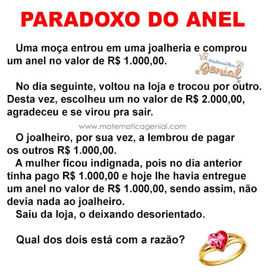 Paradoxo do Anel: Uma moça entrou em uma joalheria e comprou um anel no valor de ...