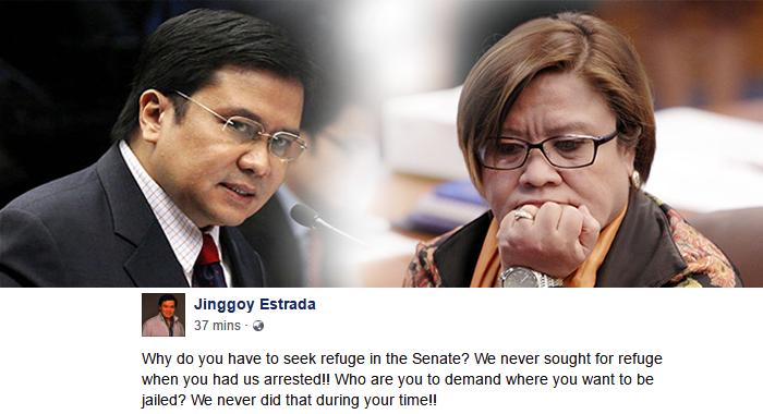 Jinggoy Estrada to De Lima: Who are you to demand? Shame on you