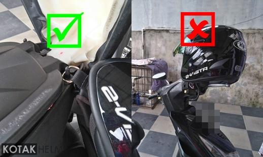 mengunci helm di dalam jok saat saat akan meninggalkan helm diparkiran