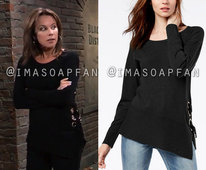 Alexis Davis, Nancy Lee Grahn, Black Asymmetric Sweater with Lace-Up Side, General Hospital, GH