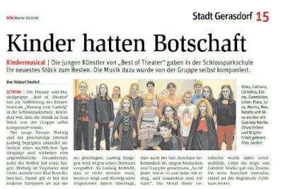 """Die Theater- und Musicalgruppe """"Best of Theater"""" lud zur Aufführung des Kindermusicals """"Blutwig und Ludwig"""" in die Schlossparkschule."""