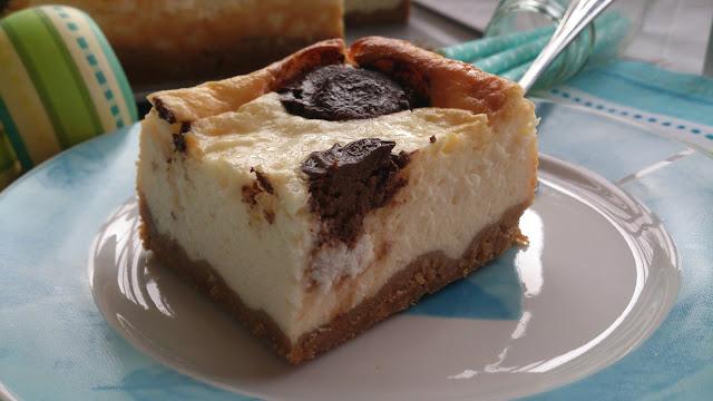 chocolate polka dots cheesecake tarta de queso con lunares de chocolate postre merienda fiesta horno deliciosa sencilla rica